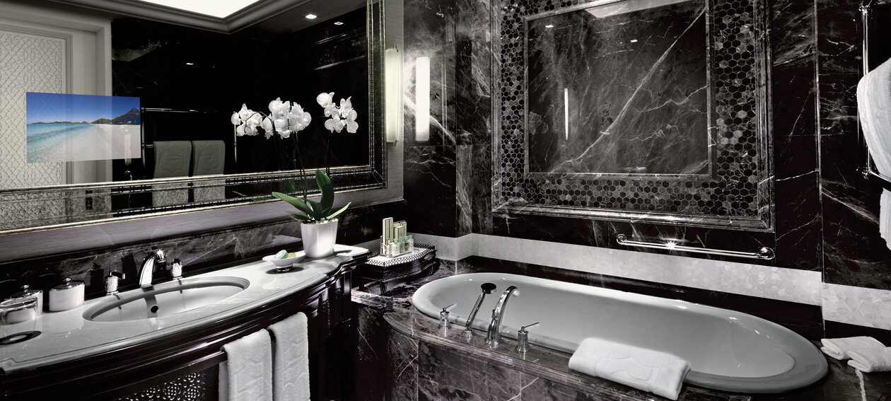"18.5"" Mirror TV for hospitality application, installed in a bathroom environment @ Shangri La Istanbul in Turkey."
